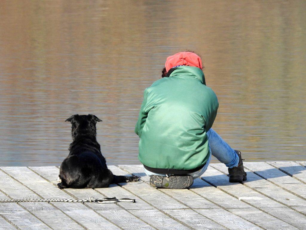 Cão e Homem à beira rio
